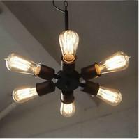 feux de bureaux industriels achat en gros de-lampes à suspension lampes industrielles E27 lampe 6heads led moderne lustre classique noir pour l'éclairage de salon de bureau