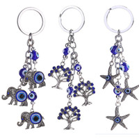 Wholesale wholesale elephant keychains - Women Accessorices Chain Elephant Starfish Small Tree Turkey Blue Eyes Wicked Keychain 3 Styles Bag Car Pendant Free DHL D307Q