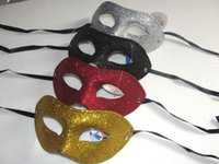 Wholesale Mask Masquerade Halloween Electroplated - 5 color Electroplate Gold powder Flat head mask Masquerade Mardi Gras Venetian Halloween Prom Dancing Party Mask 10pcs pcs