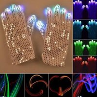 Wholesale Luminous Gloves - 2pcs pair Flashing Sequins Gloves Light 6 Mode LED Gloves Mittens Costumes Rave Riding Party Supplies Luminous Gloves CCA8233 50pairs