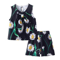 Wholesale retail kids clothes piece resale online - Pettigirl In Stock Black Printed Girls Clothing Suit With Vest Top And Short Pant Kids Casual Set Retail Baby Clothing DMCS81125 F