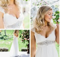 Wholesale Cheap Anna Campbell Dresses - 2015 cheap anna campbell v neck cap sleeves empire chiffon sheer lace maternity white wedding dresses pregnant summer beach bridal gowns new