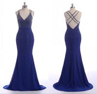 roupa sexy árabe venda por atacado-Árabe Vestidos de Noite vestidos Criss Cross Correias V Neck Azul Royal Pérolas Online-Roupas-Compras Spandex Azul Royal Sereia Sexy Vestidos