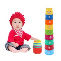 Vente en gros - Jouets pour enfants et bébés Funny Piles Cup Jouets pour le bain pour enfants Stacking Pile Up Tower Count Cups Count Number Learning Letter Toy pour enfants Jouet