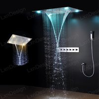 Rainfall Waterfall Shower Heads Stainless Steel Incrustado Tecto montado LED Rain Shower Set com Brass Mixer Valve