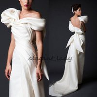 Wholesale design dress big size for sale - Krikor Jabotian Unique Design Evening Dresses White Long Court Train Ruffles Backless prom Gowns With Big Bow women occasion wear