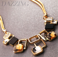 Wholesale New Arrival Vintage Fashion Necklace - New Arrival 2017 Luxury Statement Necklaces Women Gold Plated Fashion Vintage Short Crystal Choker Necklace Geometry Pendants
