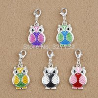 Wholesale Enamel Owl - 20pcs Silver Mixed Dangle Charms Enamel Owl Lobster Claw Clasp Charm Pendants DIY Jewelry Findings 31X14mm F0468