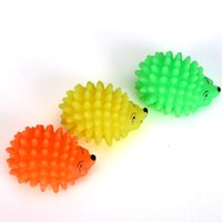 Wholesale Mini Puppy Shape - Mini Hedgehog Shape Pet Dog Puppy Squeaky Chew Toy Squeaker Ball Funny Toys Random Color Free Shipping