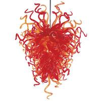 roter murano glas-kronleuchter großhandel-Chihuly Style Red Murano Glas Kronleuchter Home Decor Moderne Kunst Glas LED Quelle nach Maß Kronleuchter mit CE UL-Zertifikat