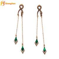 Wholesale Malachite Gold Earrings - Newly kendra retro snak dangle earrings green malachite diamante tassle earrings alloy gold plated beautiful earring ed01166