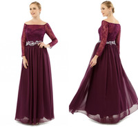 Wholesale Sequin Bodice Mother Bride - 2017 Mother of The Bride Dresses Dark Grape Chiffon Long Formal Party Gowns Elegant A Line Off Shoulder Long Sleeves Lace Bodice Zipper