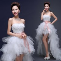 Wholesale Trendy Simple Wedding Dresses - Romantic A Line Wedding Dresses Trendy Style Strapless Asymmetrical Hade Made Flowers Applique Sleeveless Lace Up for party Gowns