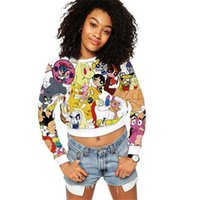 Harajuku Cartoon Print Emoji Affe Adventure Time Sweatshirt Tracksuits Frauen Langarm Crop Top Hoodie 3D Tops Feminina
