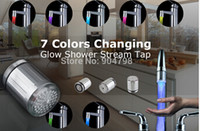 Wholesale Shower Spray Light - 1pcs 7 Color RGB Colorful LED Light Water Shower Spraying Head Faucet Bathroom YKS