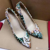 Wholesale Sequin Shoes Heels Wedding - 2017 Luxury Brand Christian Red Bottom Spiked High Heels Women Sequins Heels Party Wedding Shoes Pointed Toe Pumps Causal Shoes