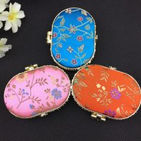 Wholesale Mirror Compact Silk - Oval Portable Makeup Compact Mirror Favor Folding Silk Printed Double sided Pocket Mirror 10pcs lot mix color Free Shipping