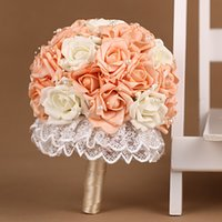 Wholesale Silk Champagne Bridal Bouquets - Champagne Ramos De Novia Lace Patterns Buques De Noivas Flores Beautiful Beach Wedding Bouquet Bridal Artificial Flowers 2016