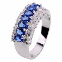 Wholesale natural sapphire free shipping - Size5 67 8 9 10 11 Jewellery Elegant natural sapphire lady's 10KT white Gold Filled Ring 1pc free shipping
