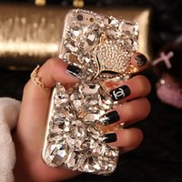 Wholesale Diamond Iphone 5s Cases - For i6 plus Case Bling Fox Crystal Rhinestone Diamond Case Cover For Iphone 6s 6 Plus 5S 7 7plus