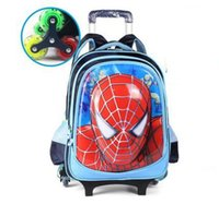 Wholesale Trolley Bags For Boys - Kids Rolling Bag Spider Boy 'S Trolley Backpack For School Children 'S Travel Luggage Wheeled Bag Student Backpack With Wheels