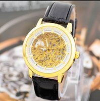 Wholesale Wholesale Mechanical Skeleton Watch - Winner Transparent Ultra Thin Watches For Mens Watches Men Luxury Brand Gold Mechanical Skeleton Watch Mens Wristwatch