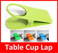 Wholesale Drink Clip Holder Desk - Fashion Home Office supplies Drink Cup Coffee Desk Lap Folder Table Holder Clip Lap Orange Blue Green