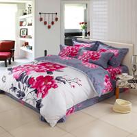 Wholesale Purple Rose Quilt Cover Set - IvaRose New 3D Pink flowers print bedding set 4pcs cotton Houses duvet cover bed sheet set linen quilt pillowcase set