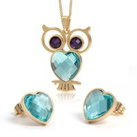 Wholesale Stainless Steel Earring Owl - 2015 fashion owl jewelry sets for women 18k gold stainless steel necklace earrings african jewelry