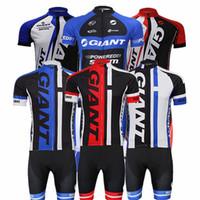 jersey de ciclomotor de manga curta gigante venda por atacado-Atacado- [entrega rápida] 2015 equipe de ciclismo GIANT roupas de manga curta ropa ciclismo camisa de ciclismo Jersey + BIB roupas de ciclismo