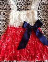 Wholesale Exclusive Girls Dresses - Exclusive design Lace dress Christmas Baby Clothes With Red lace Baby Girl Dress with Navy Satin Bow Toddler Oufit