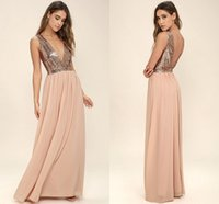 Wholesale Chocolate Chiffon Sequined Dress - Country Style Rose Gold Sequined Long Bridesmaid Dresses 2018 New Deep V Neck A Line Chiffon Floor Length Maid of Honor Gowns for Weddings