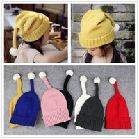Wholesale Pink Whips - Hot winter wool cap children new whip cap cute solid color Christmas Thanksgiving Douding knitted hat both men and women