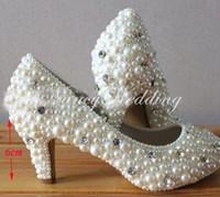low heeled formale schuhe großhandel-Mode Schuhe für Party Zeremonie Imitation Perle Hochzeit Brautschuhe niedrig / mittel / high Heel 4 Zoll Handmade Girl Formal Dress Schuhe
