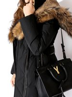 Wholesale Blue Fur Coat Hood Women - Women Long Down Jackets with real raccoon fur collar hood lined with rabbit fur Ms coats