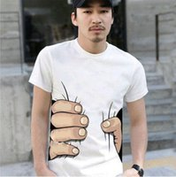 Wholesale Spoof Grab Shirts - Funny Big Hand T- shirt Man Fashion clothes Printing Hot 3D visual creative personality spoof grab your cotton T-shirt