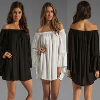 Wholesale one lantern - One Shoulder loose chiffon dress Slash Neck with long sleeves female casual skirt Black White S-XL WS67