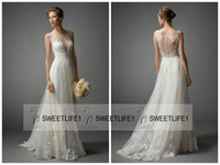Wholesale Watters Wedding Dress - 2016 New Arrival Watters A Line Sheer Wedding Dresses with Sexy Scoop Neck Sleeveless Lace Appliques Vintage Bridal Gowns Button Back
