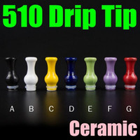Wholesale Ceramic Vase Free Shipping - Pure Color 510 Drip Tip Ceramic Vase Electronic Cigarette Mouth Piece For Orchid V4 Vulcan Clearomizer Free Shipping FJ643