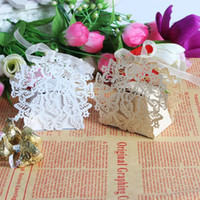 Wholesale White Paper Butterflies - 50pcs Laser cut White and beige Butterfly Wedding Candy Box in Pearlescent Paper, wedding party gift Chocolate Box