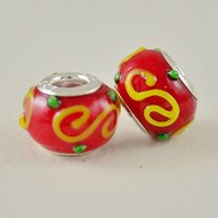 Nova cor vermelha e laranja Murano Lampwork Clear Glass Big Hole Beads 14X9mm fit Pulseira de charme europeu Jóias DIY