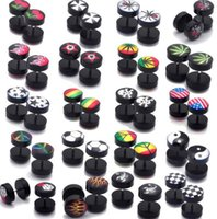 Wholesale fake ear stretchers - 36Pcs Lot 10MM Acrylic Fake Cheater Plug Taper Tunnels Ear Stud Extender Stretcher [BA38*36]