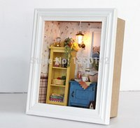 Al por mayor-DIY Kit Marco miniatura Dollhouse w / Luz Mar Mediterráneo Cálido Amanecer Home Deco