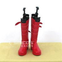 Wholesale Perona One Piece Costume - Wholesale-Handmade ONE PIECE Perona Cosplay Shoes Red High Boots Custom-made