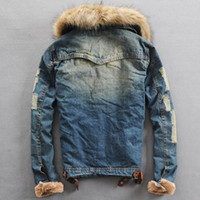 Wholesale Mens Cool Winter Jackets - Fall-Cool Wool Iiner Thick Fleece Mens Hooded Denim Jacket With Fur Collar For Men Retro Holes Sleeve Warm Winter Coat Hood Men Cloth