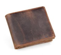 Wholesale Leather Bifold Money Clip Wallet - Men Genuine Leather Retro Short Bifold Wallet Cowhide Coin Purse Card Holder Money Clips Slim Vintage Design Purse