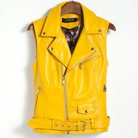 Wholesale Womens Leather Vest Fashion - 2017 Plus Size Women Coat Leather Vest Womens Fashion Vests womens Cool Slim Vest Coats Casual Veste Femme