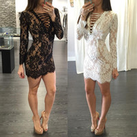 Wholesale Sexy Office Wear Womens - New Women Summer Dress Sexy Lace Long Sleeve Work Wear Hollow Out Office Dress Womens Sexy Party Night Club Dress Plus Size