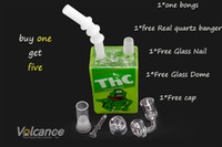 Wholesale bong parts resale online - 14mm bong in hookahs high quality bongs with quartz banger glass nail glass dome carb cap five parts mm joint glass water pipes