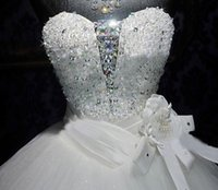 Wholesale Swarovski Mermaid Dresses - New Wedding Dress Bridal Gown With Ball Gown SWAROVSKI Luxury Crystals Sweep Train Beaded White Or Ivory Lace UP
